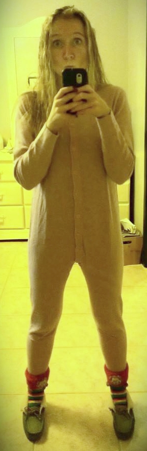 I spend all of winter shamelessly cozy. Me wearing a onesie.