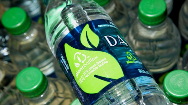 Dasani green cap bottle made with plant materials. Eco friendly water bottle choice