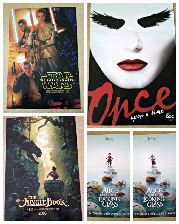 Disney D23 Expo 2015 Exclusive Movie Posters GIVEAWAY Star Wars The Force Awakens, Alice Through the Looking Glass, Jungle Book, Once Upon a Time