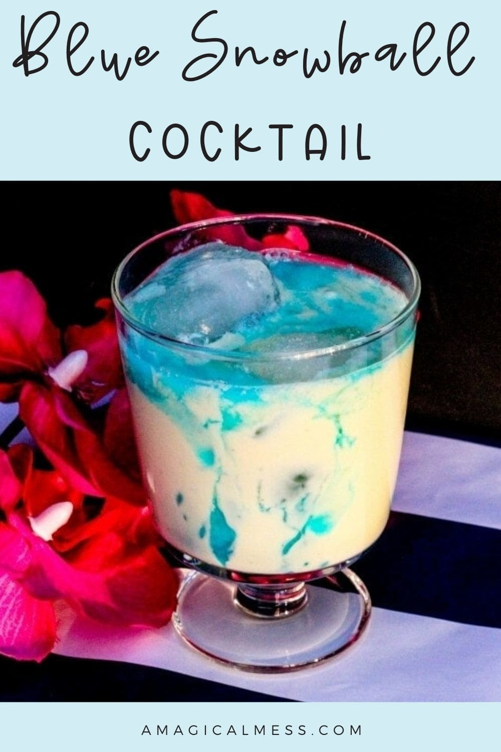 Mixed drink with blue swirls