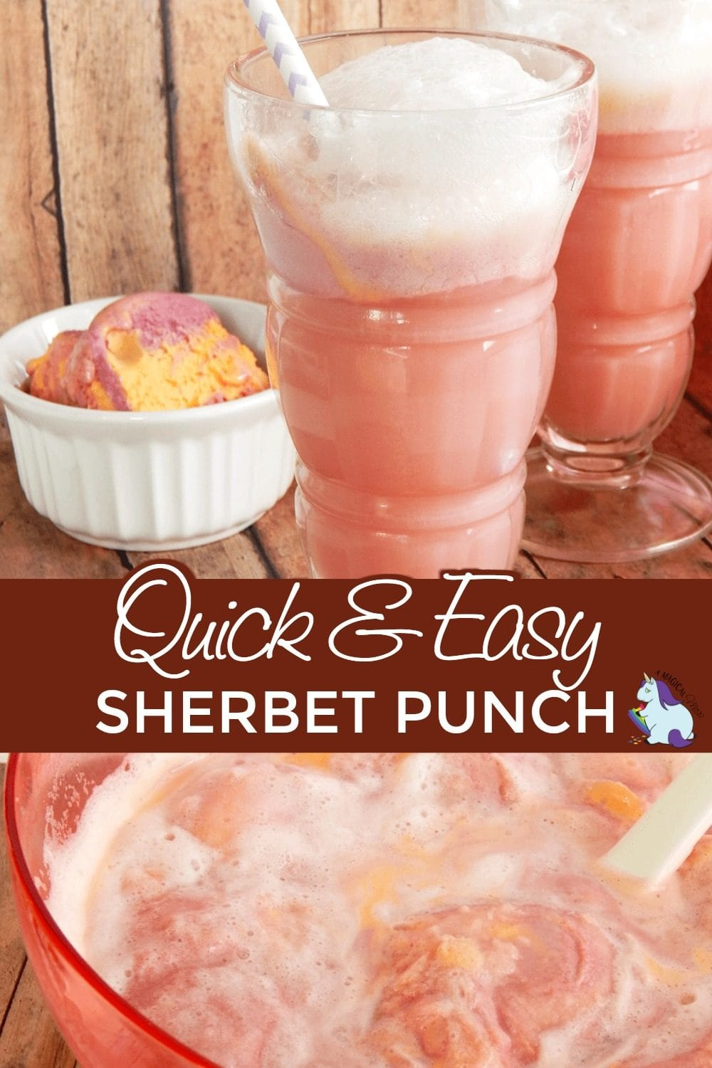 Closeup of punch in bowl and two glasses of sherbet punch