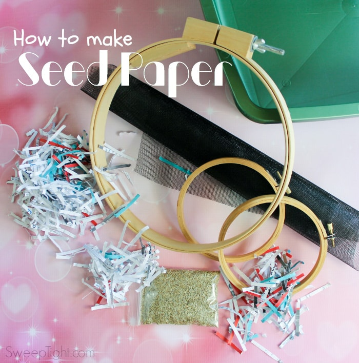 Supplies needed to make your own seed paper