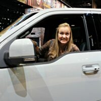 Shelley in a Ford Raptor 2016 Chicago Auto Show Recap