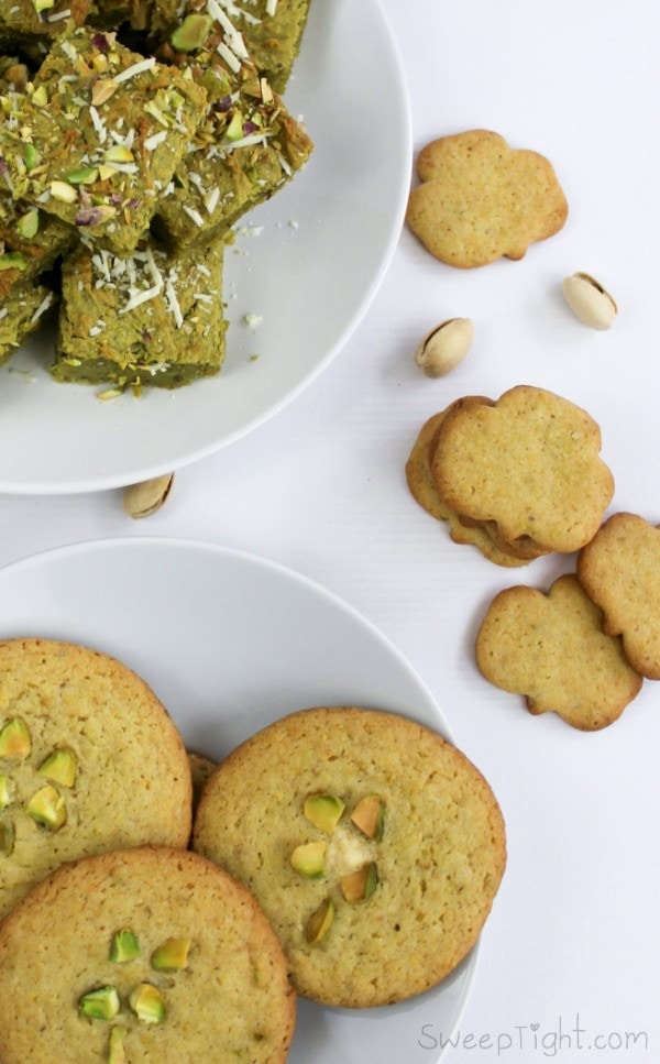 Recipes using pistachios - four leaf clover cookies, gluten free pistachio brownies, and super easy pistachio sugar cookies