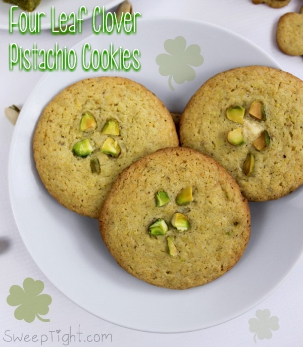 Super easy four leaf clover cookies with pistachios