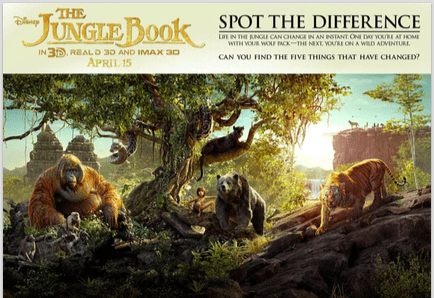 Spot the Difference printable activity sheets Disney The Jungle Book