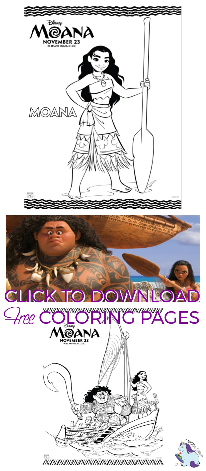 Free Disney Coloring Pages - Full Moana Coloring Packet!