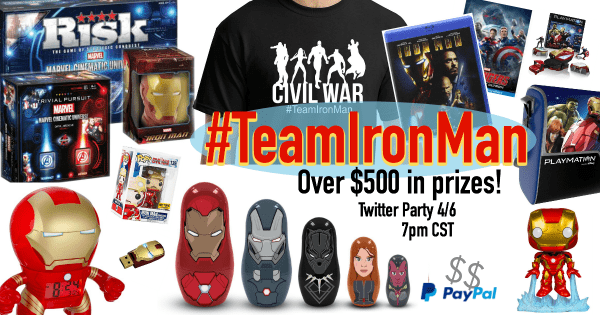 Team Iron Man Giveaway and Twitter Party! #TeamIronMan #CaptainAmericaEvent