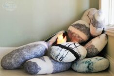 Pebble Pillows and fake fire