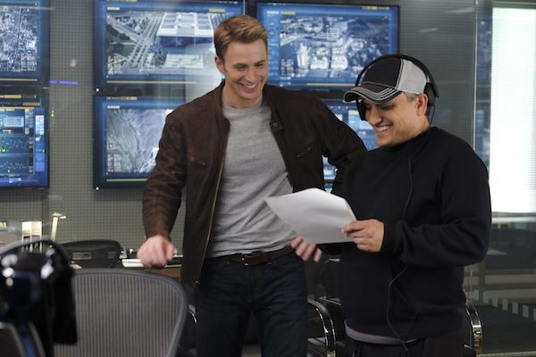 Chris Evans and Joe Russo on Set of Civil War
