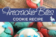 Red, white, and blue cookies with star sprinkles