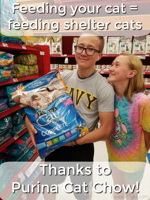 When you buy Purina Cat Chow, they'll donate a meal to a shelter! Their goal is 5,000,000 meals! And Check out our post: The Many Titles of Stewie - our cat rescue story #CatChowCares #ad