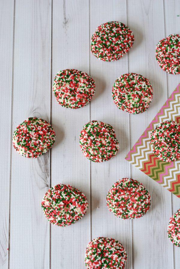 Christmas Shortbread Cookies Recipe with Sprinkles