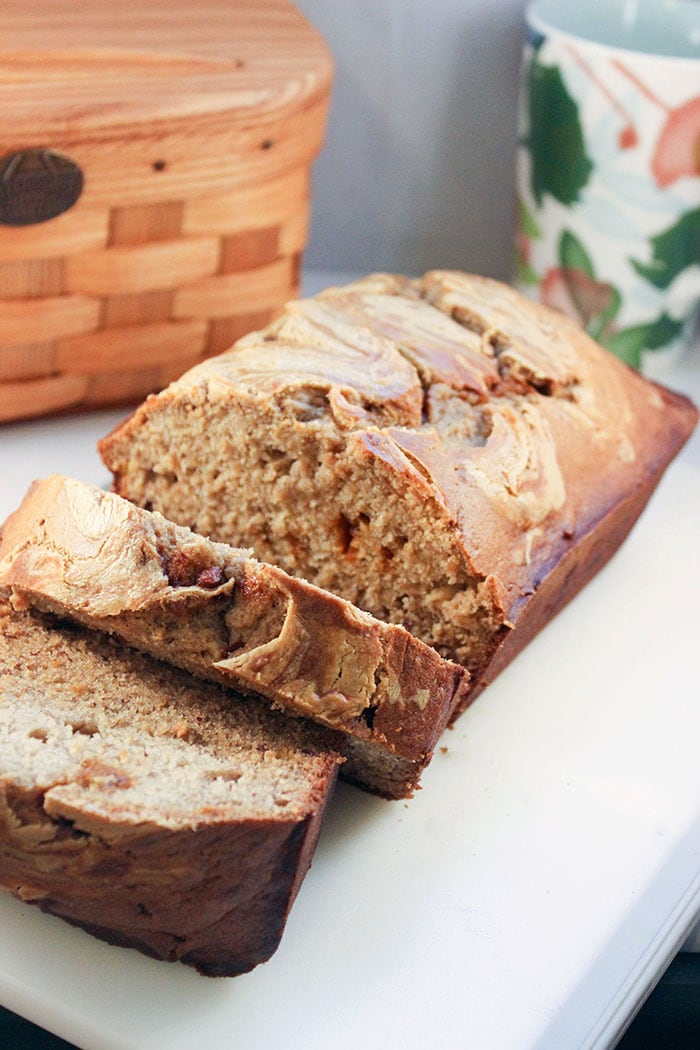 Moist banana bread recipe with cinnamon chips and peanut butter