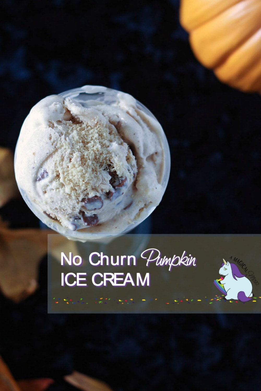 No churn pumpkin ice cream recipe with swirls of cinnamon chips and vanilla cookies