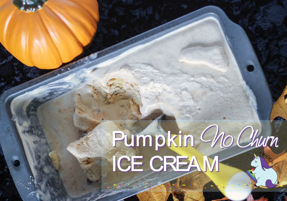 Easy no churn pumpkin ice cream recipe with cinnamon chips and chunks of Oreos