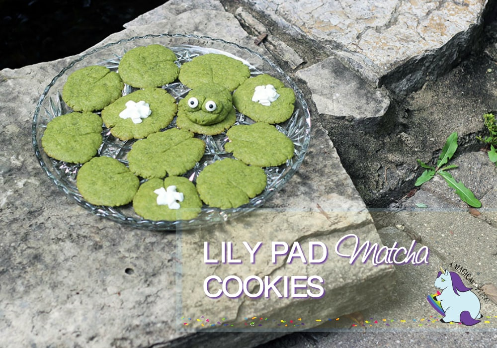 Matcha Green Tea Cookies shaped to look like a frog and lily pads
