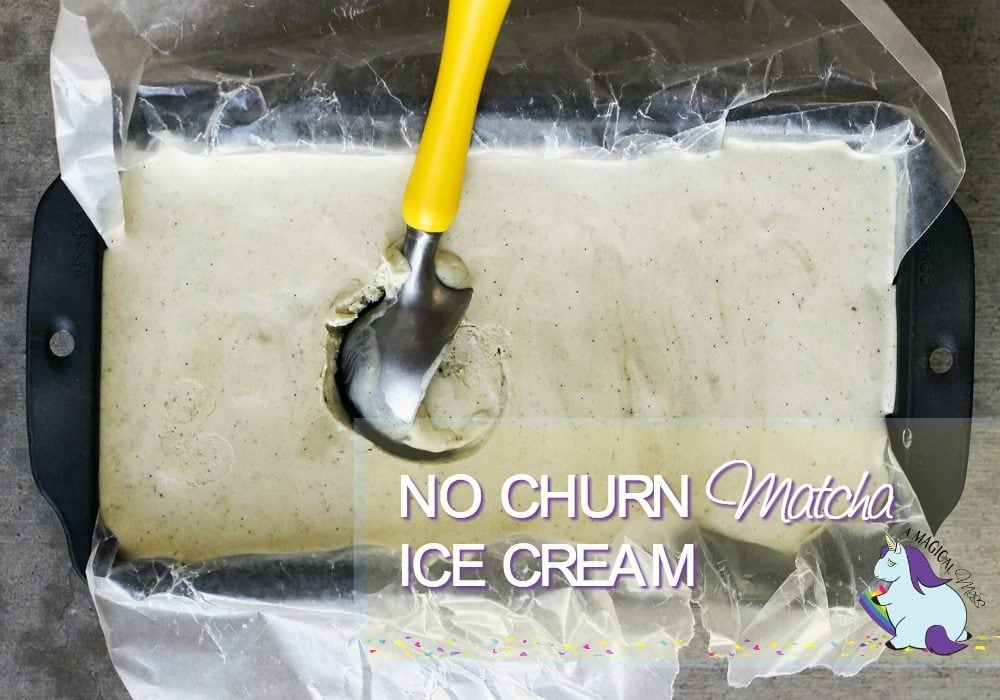 No Churn Green Tea Matcha Ice Cream in a dish