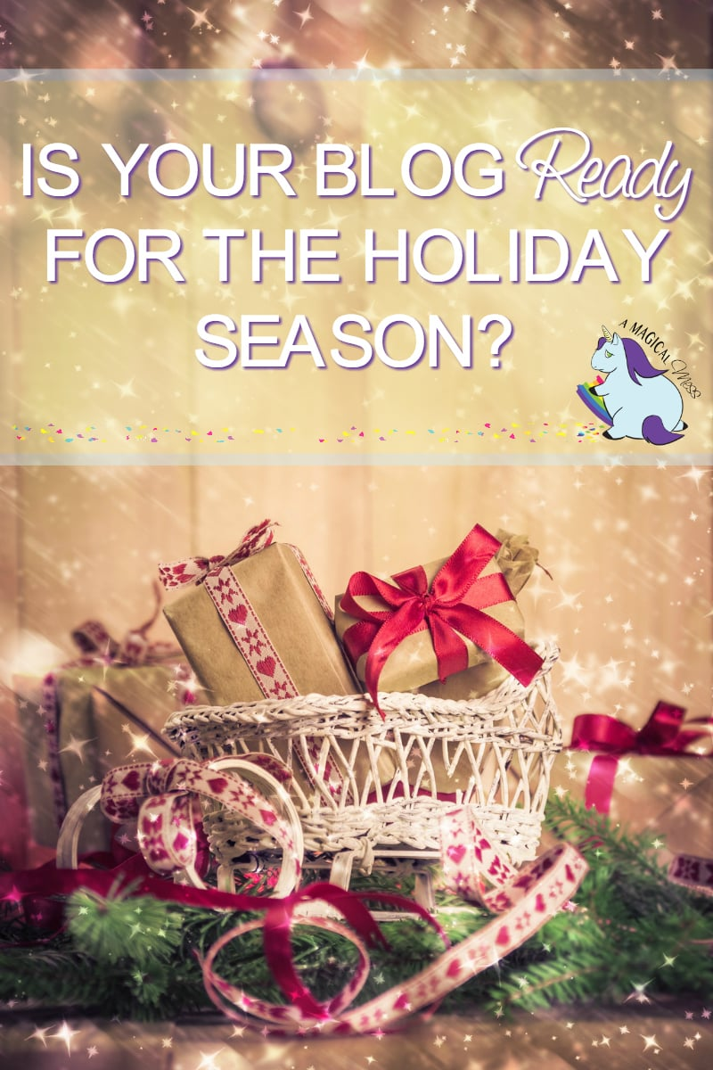 Basket of gifts with a festive holiday backgroud