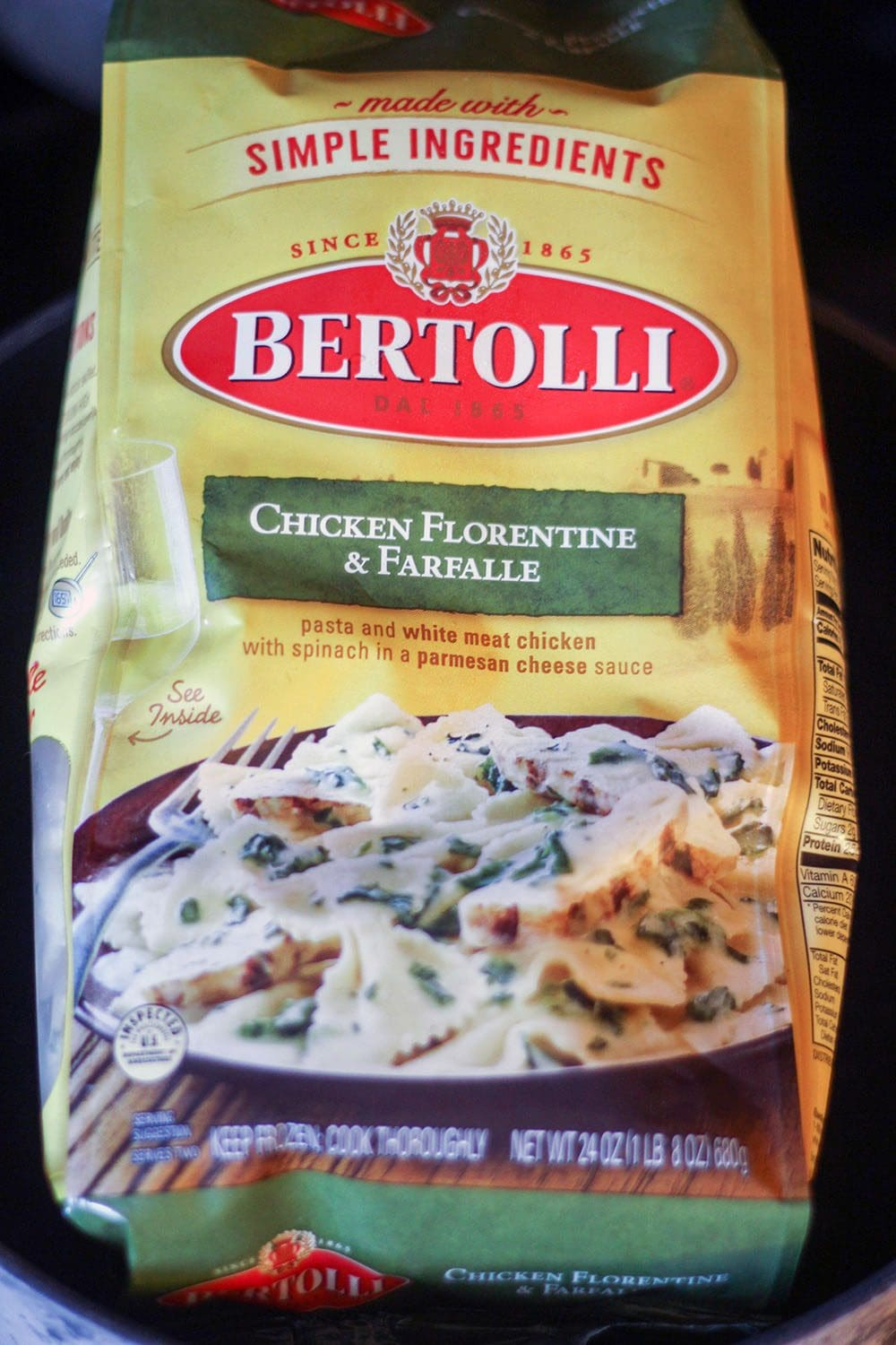 Bertolli new transparent bag and made with simple ingredients