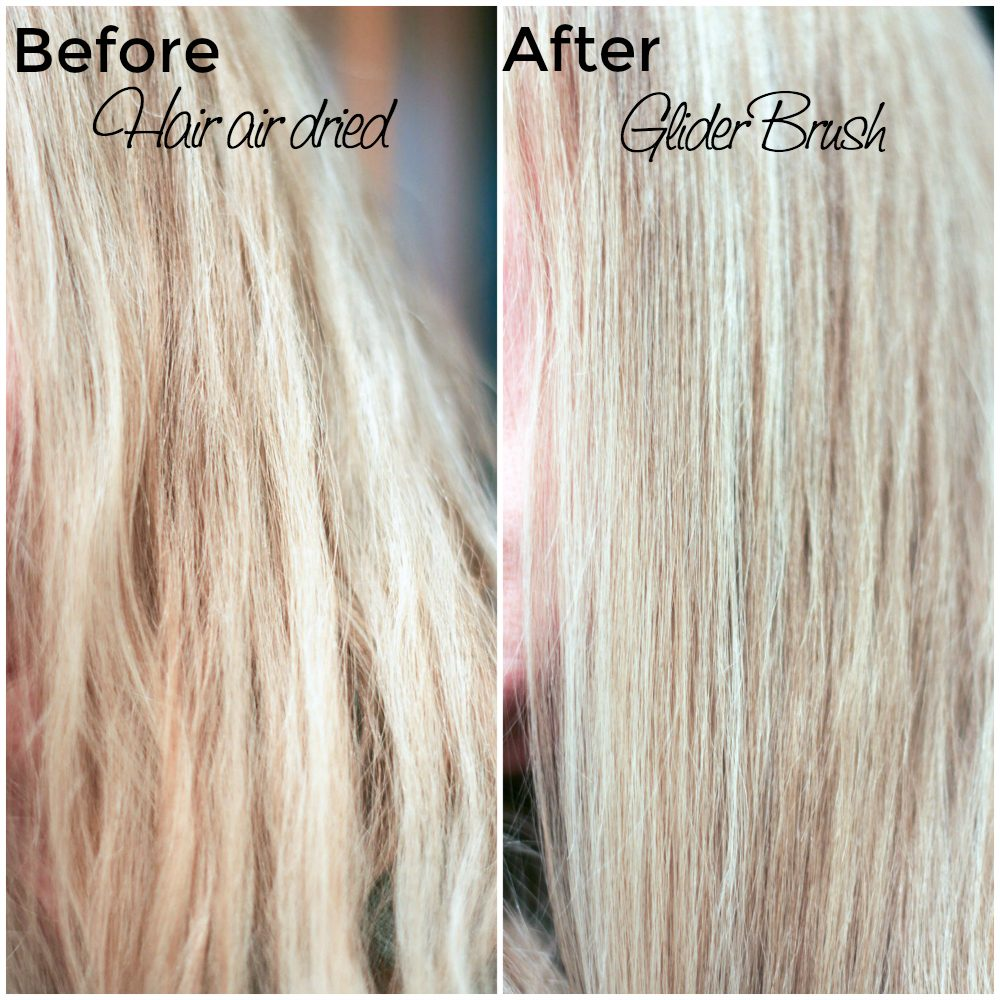 Hair before and after using a heated straightening hair brush
