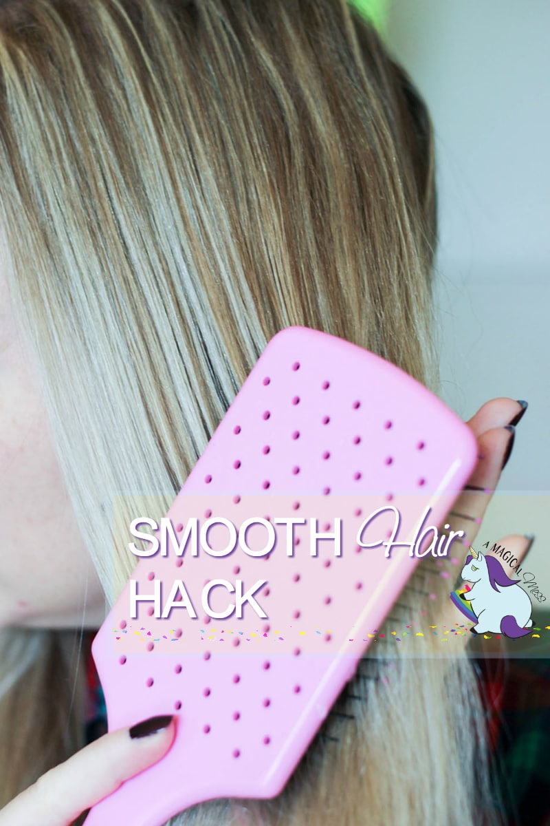 Spray your brush to evenly distribute hairspray and smooth out hair
