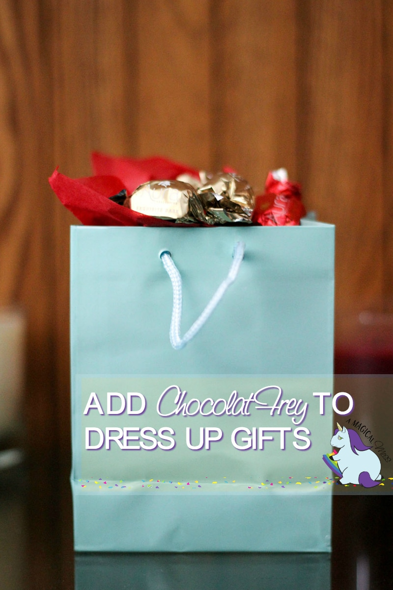 Add fancy candy to gifts to dress them up.