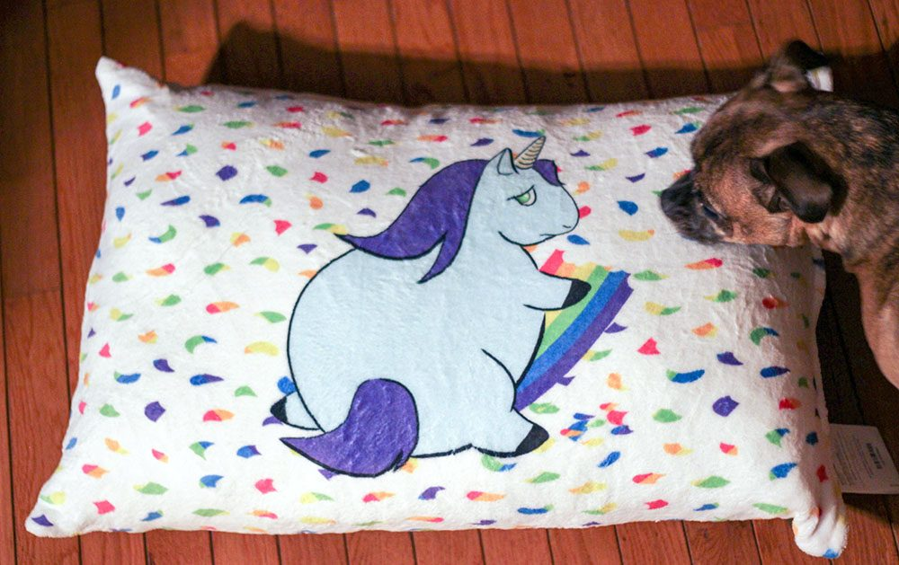 Personalized dog bed with A Magical Mess logo