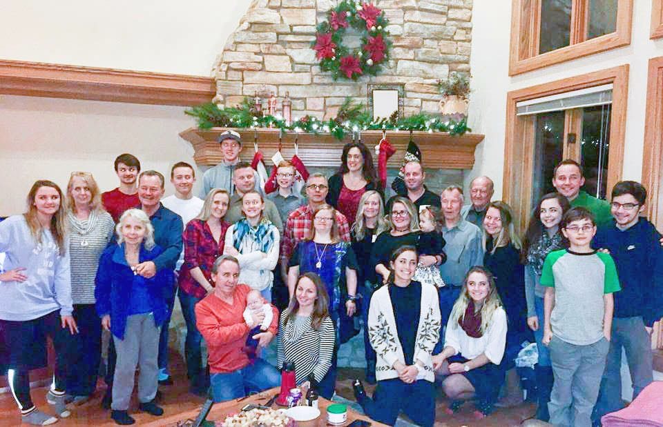 Part of my huge family at Christmas