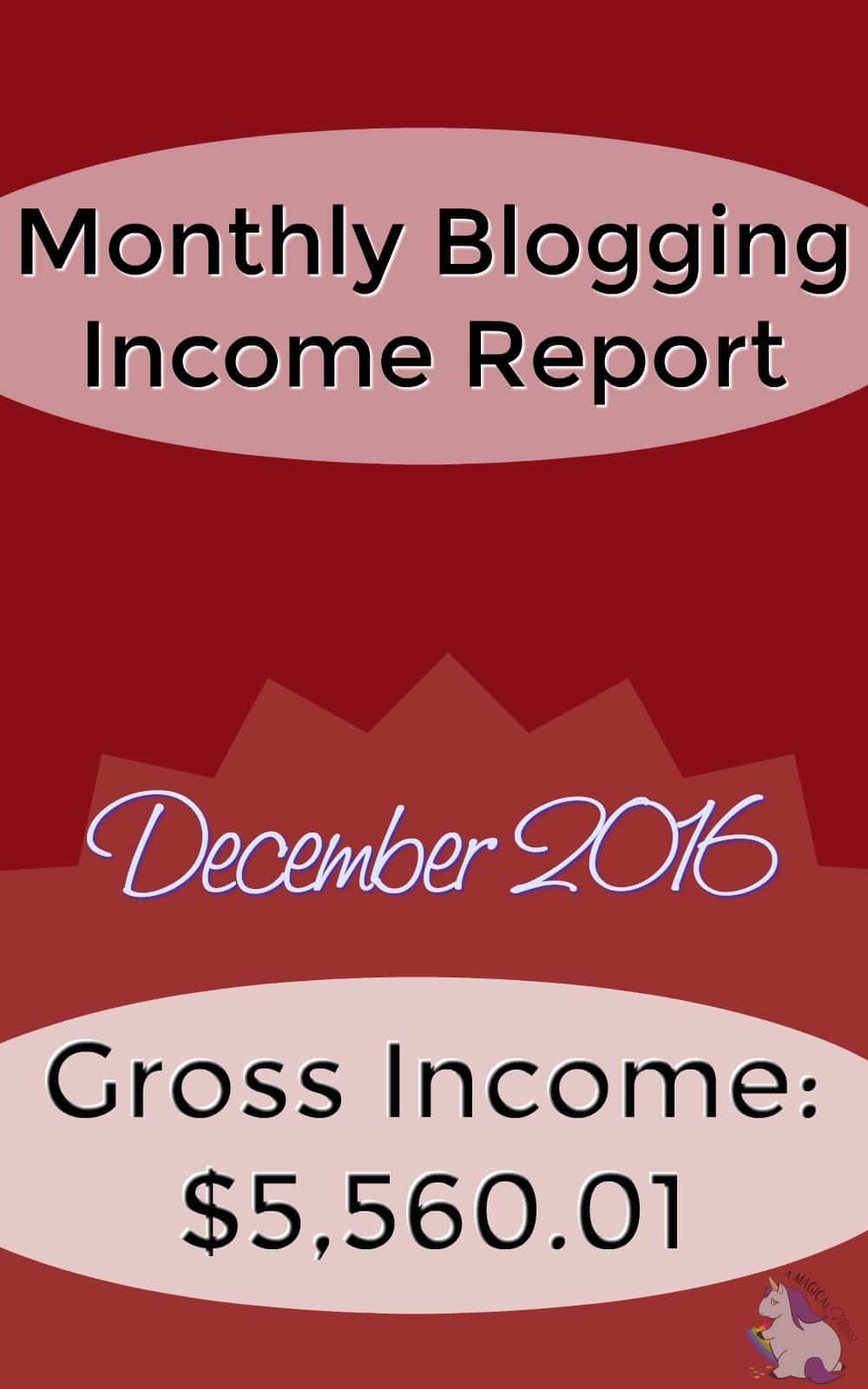 Monthly Blog Income Report - December 2016