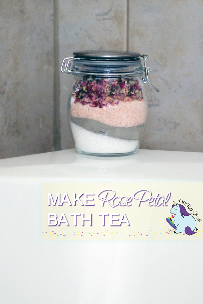 Rose Petal Bath Soak layered in a jar on the tub