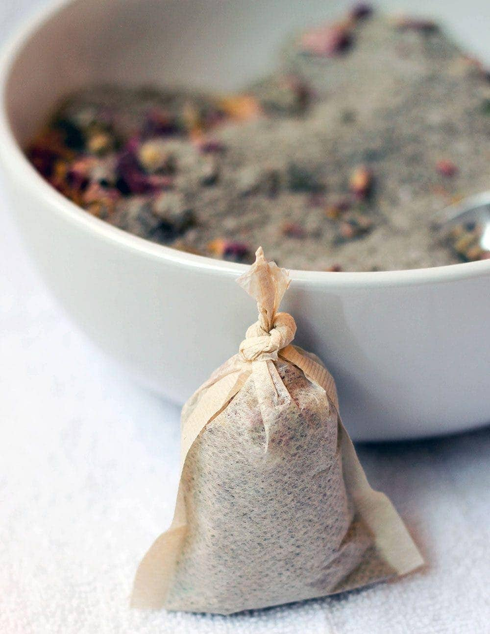 Rose petal tub tea in a tea bag