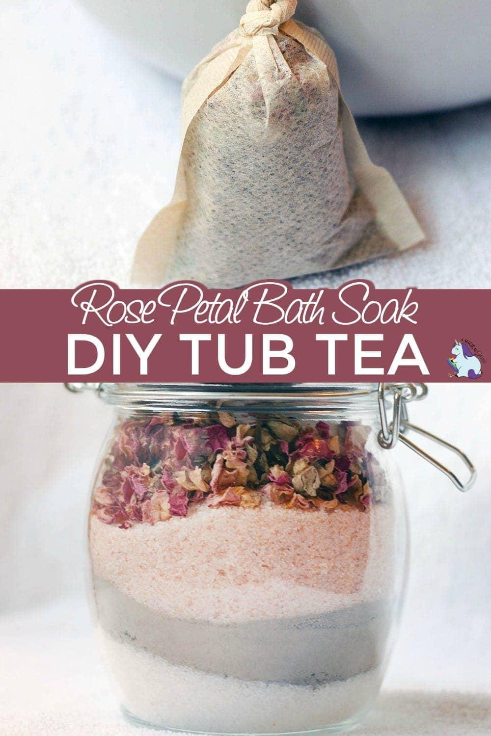 Rose petal bath soak and a tea bag full of tub tea