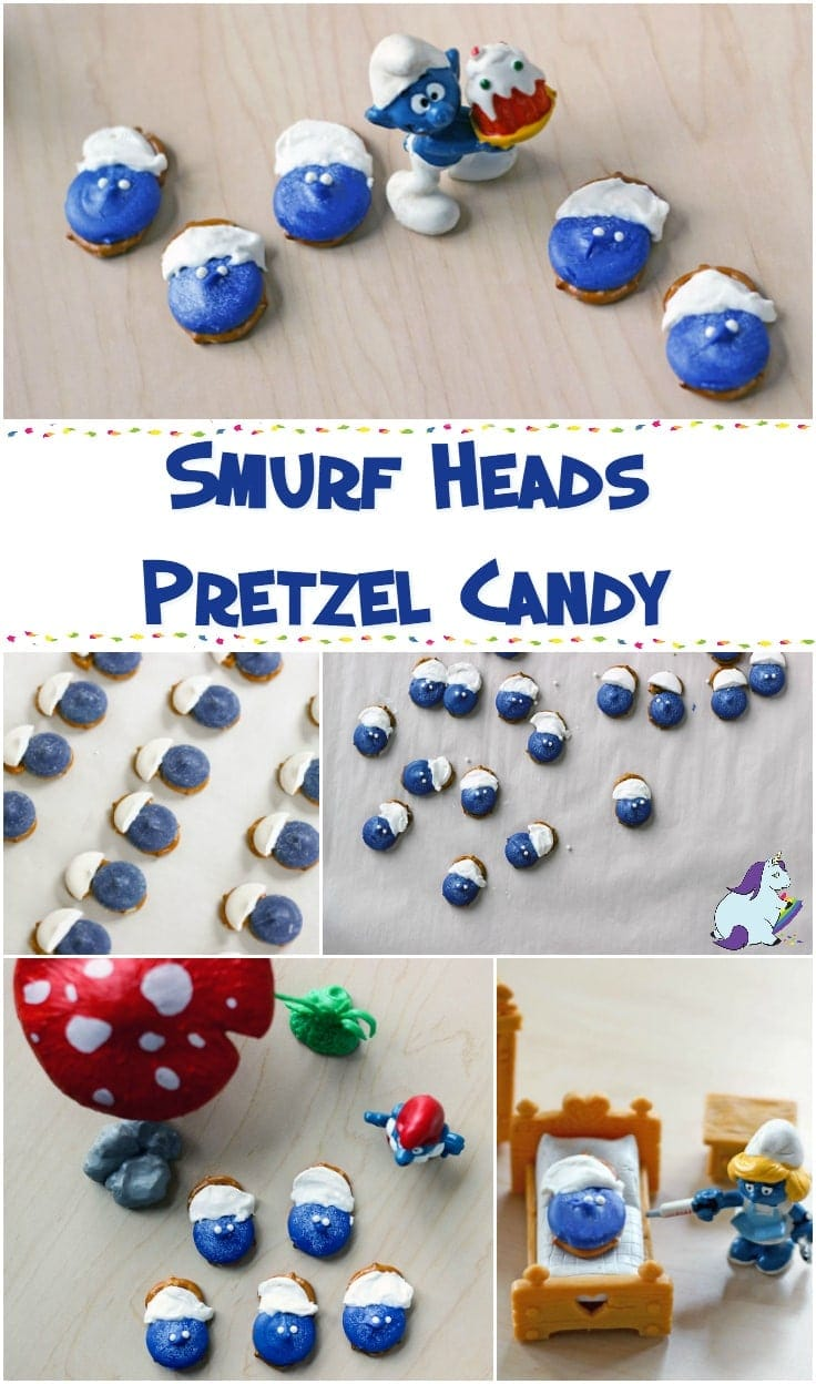 Smurf Heads pretzel candy collage