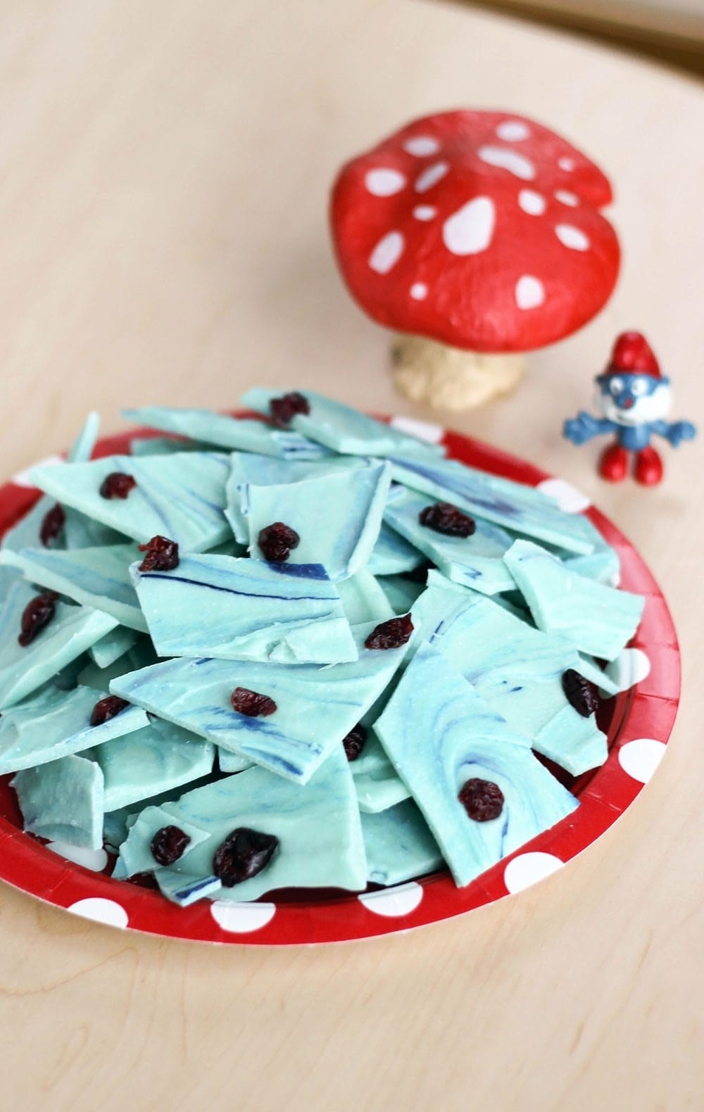 Blue swirled candy bark