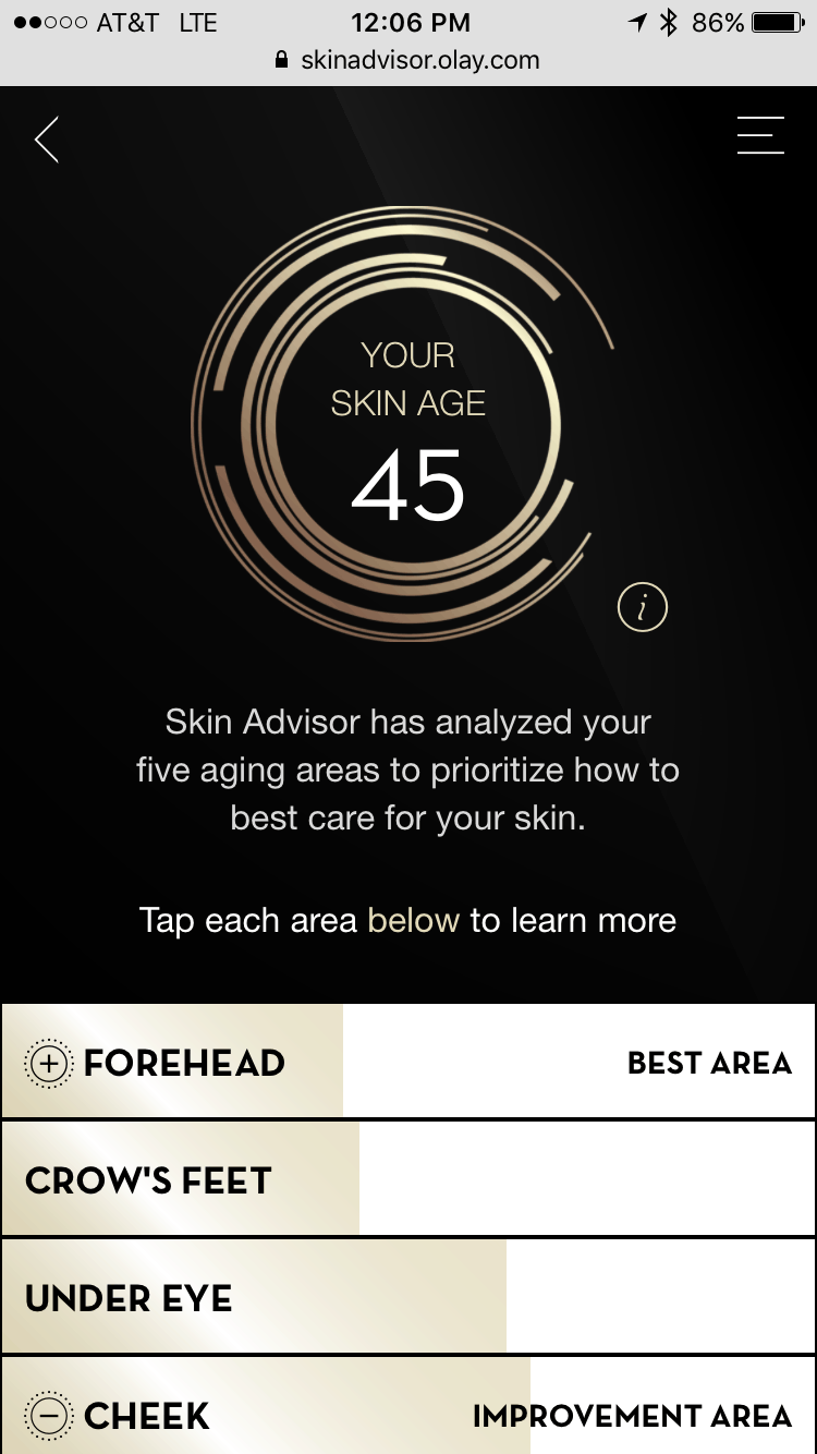 Skin Advisor Tool says my skin is 45 and I am only 38!