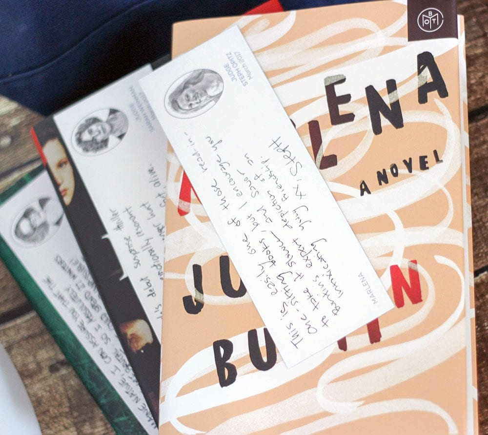 Book of the Month judges include bookmarks with notes about their thoughts on the books