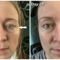 28 days of Olay study - before and after. Definitely notice in my crow's feet!