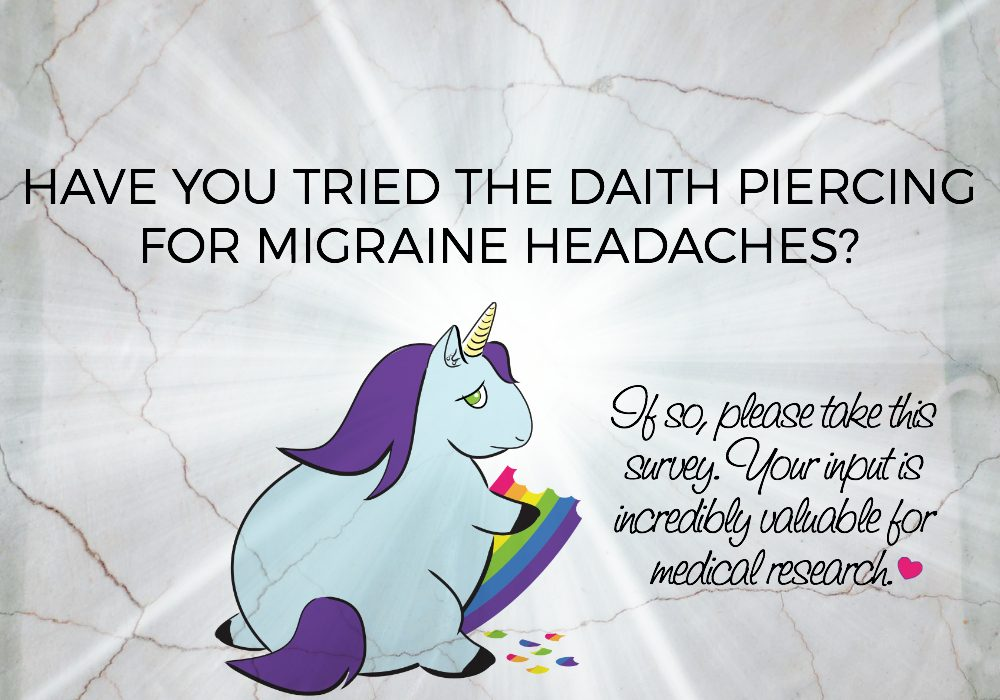 "No matter your results, if you've had the ""migraine piercing"" / ""daith piercing"" please take this survey. It's the first legitimate medical study of its kind! :) Thanks so much. XOXO http://london-migraine-clinic.co.uk/"