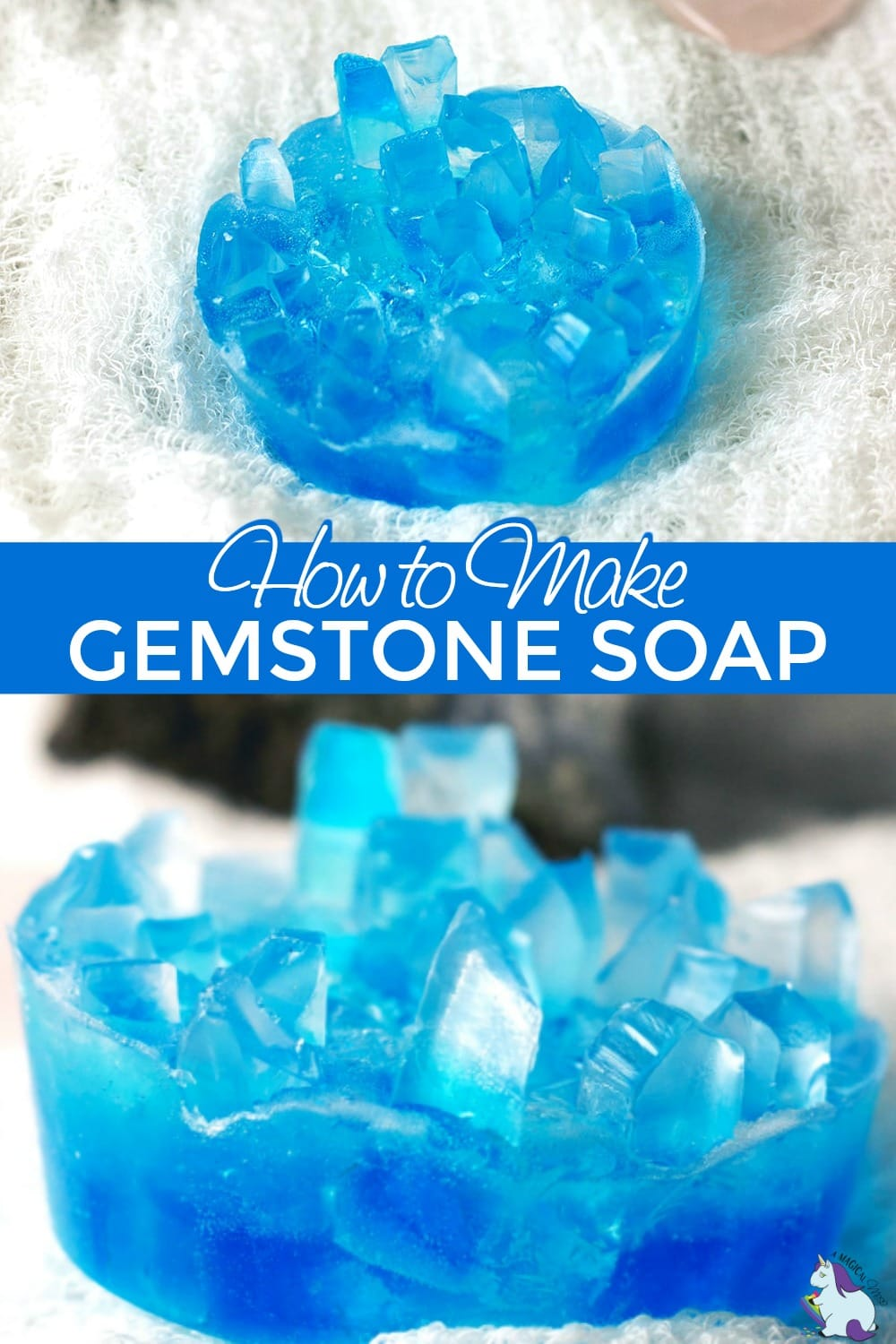 Crystal soap that looks like gemstones collage
