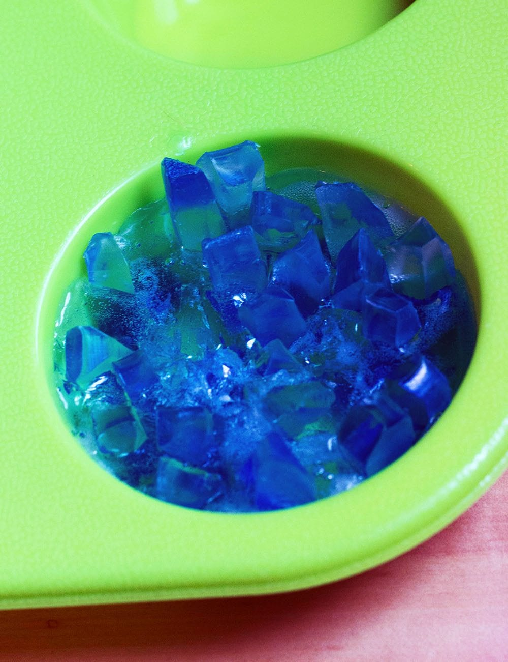 Gemstone soap in the soap mold