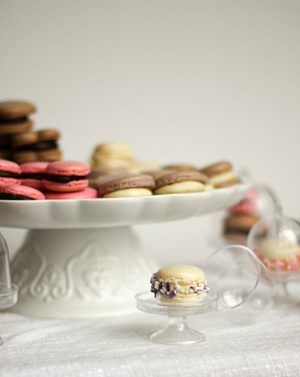 Mini French Macarons on cute stands
