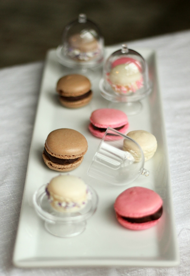 Super cute little macarons plated