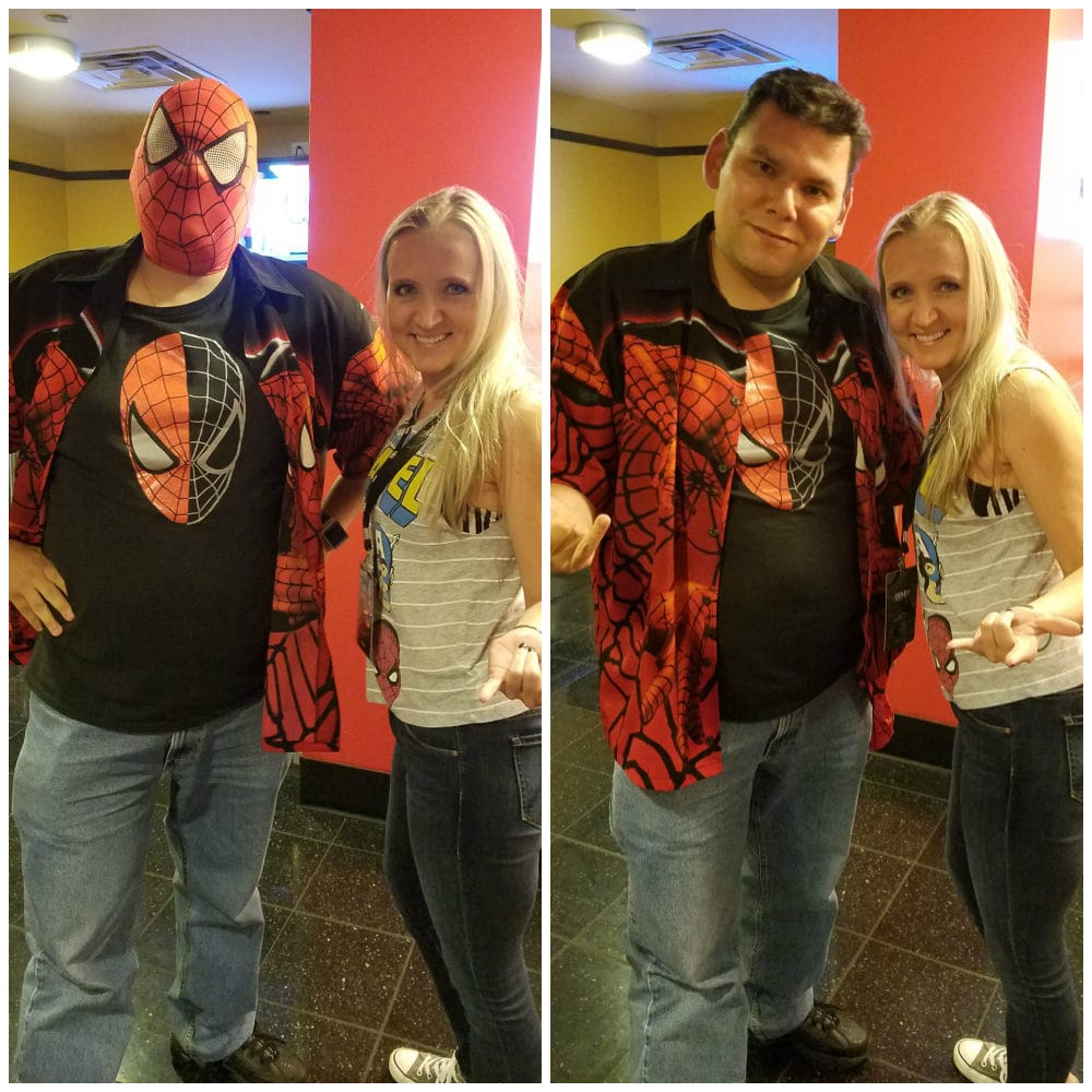 Fandads.com Giveaway winner, Michael B. Hernandez with Shelley VanWitzenburg of A Magical Mess - Spider-Man: Homecoming screening