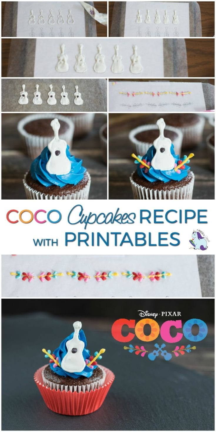 Guitar cupcakes with printable