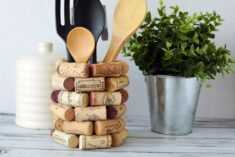 Wine Cork Craft Ideas - DIY Kitchen Utensil Holder