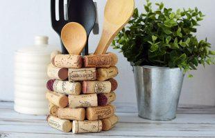 WineCorkCraft Ideas - DIY Kitchen Utensil Holder