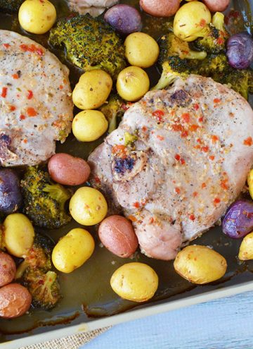 Colorful and Easy Sheet Pan Pork Chops Recipe