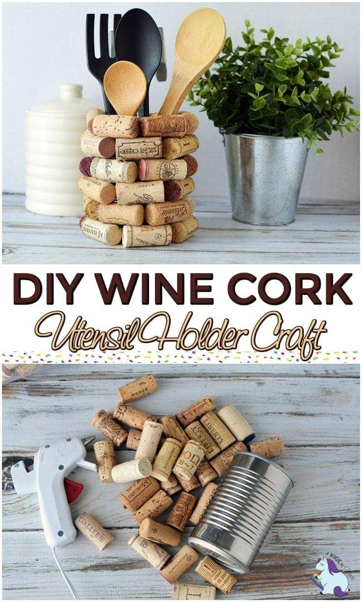 Wine cork craft ideas diy kitchen utensil holder a for Crafts to make with wine corks