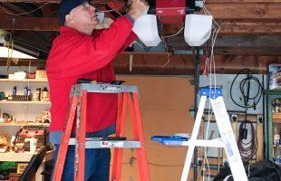 Jack Helson installing our new LiftMaster garage door opener.